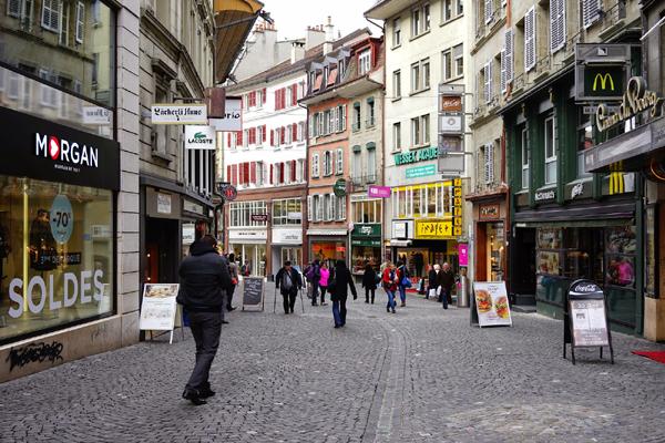شارع التسوق في لوزان سويسرا